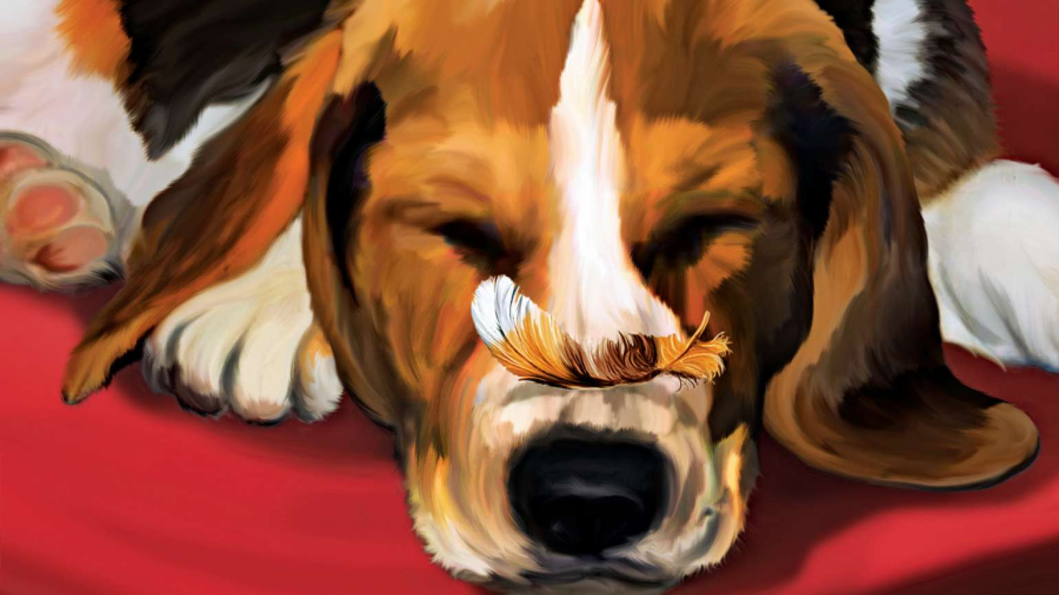 An artist's rendering of a snoozing beagle with a feather resting on its snout