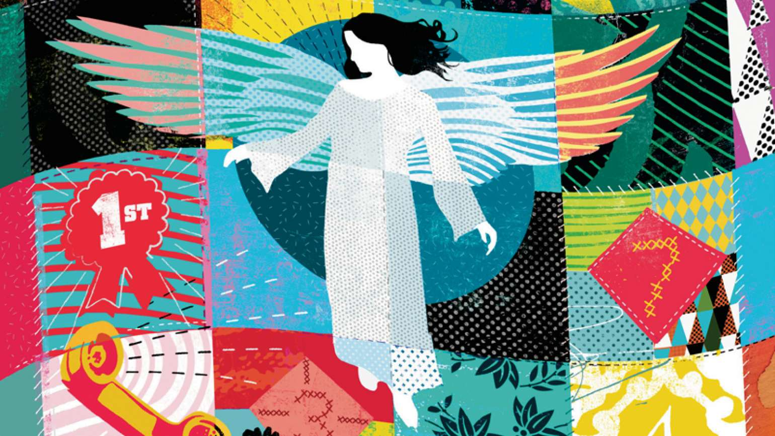 An artist's rendering of a quilt with an angel on it