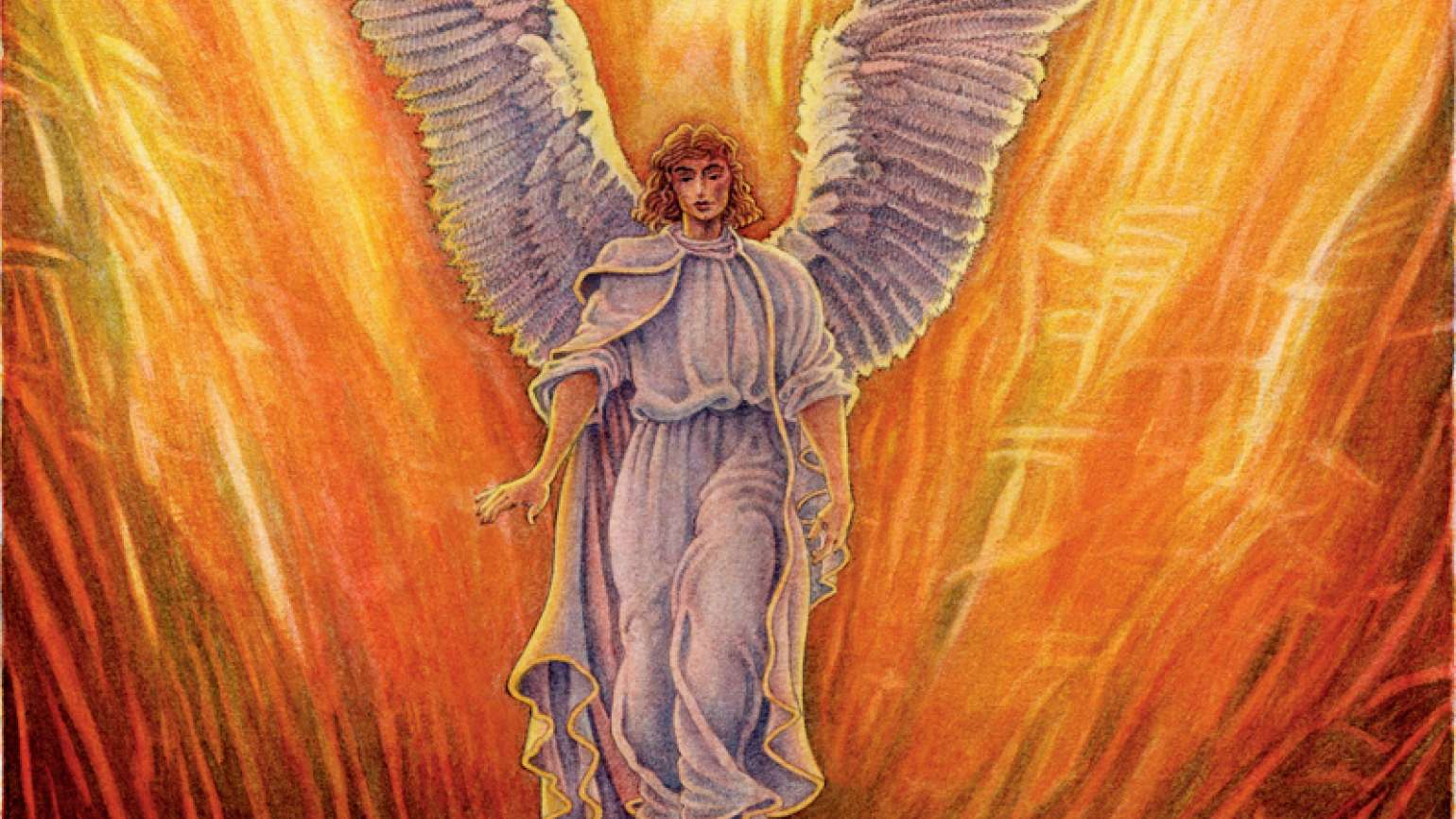 An artist's rendering of an angel flying above a raging fire