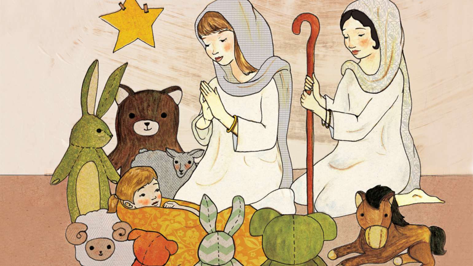 An artist's rendering of children performing a Nativity play.