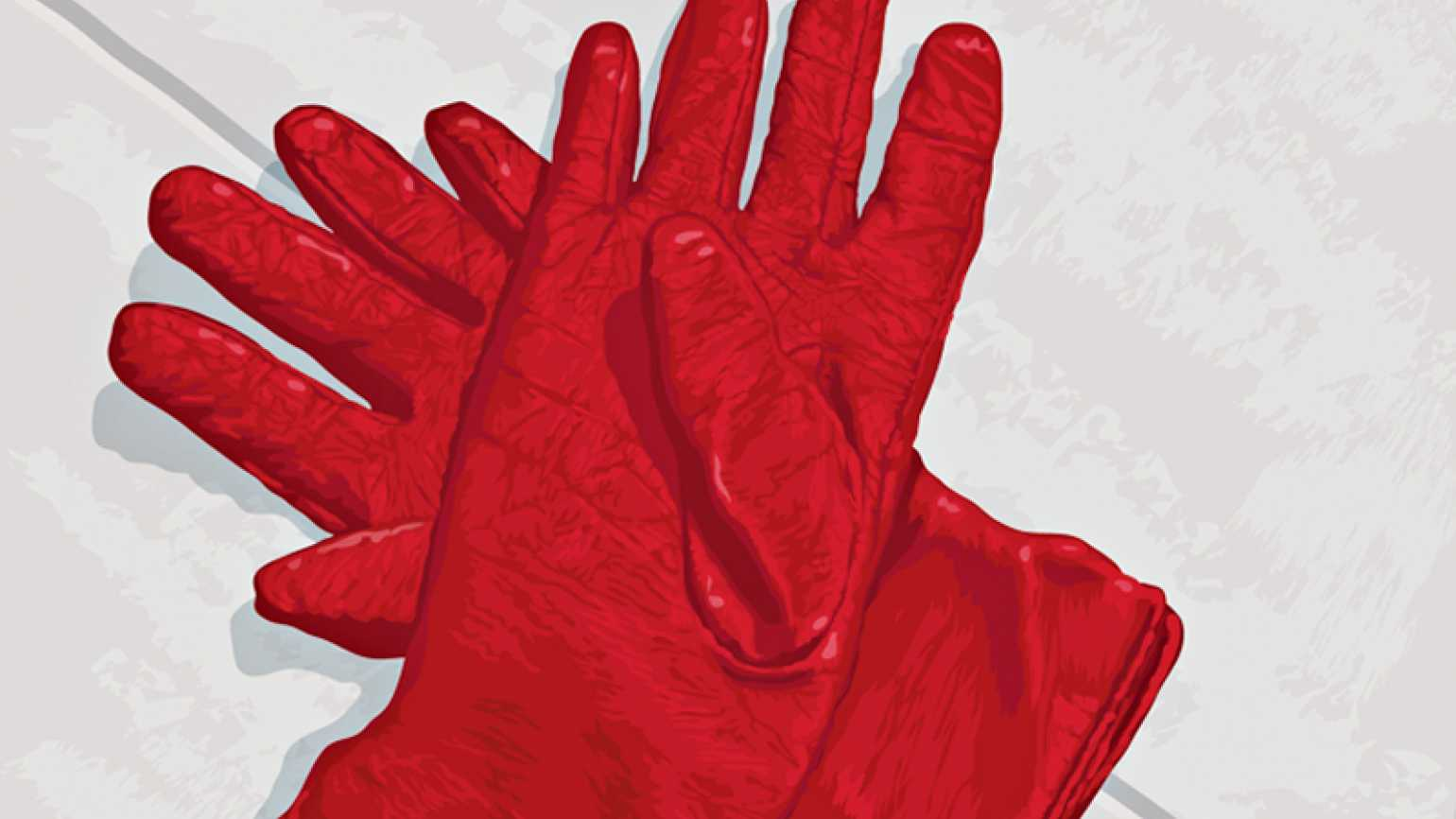 An artist's rendering of a pair of red leather gloves