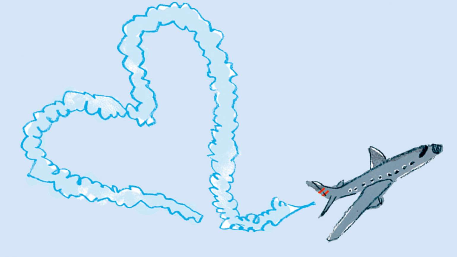 An illustration of a plane leaving a heart-shaped smoke trail