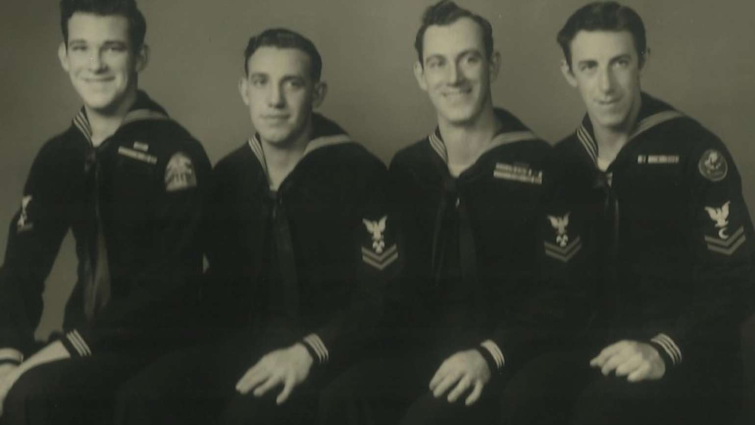 Michelle Cox's dad, second from left, and uncles in U.S. Navy uniforms.