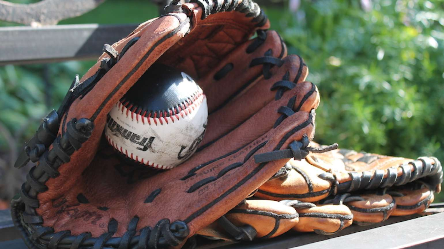 A baseball glove at the park