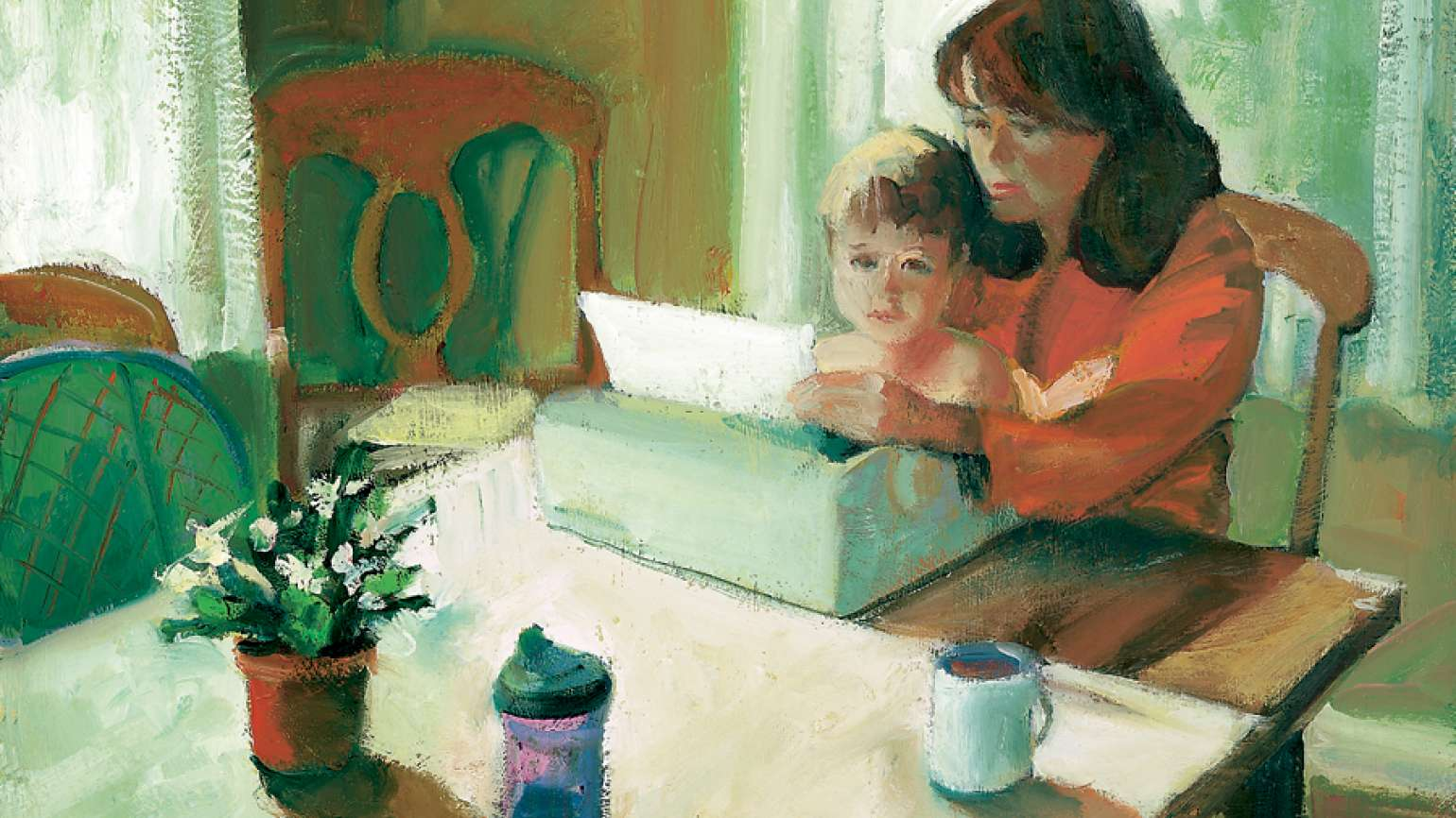 An artist's rendering of a woman sitting at a typewriter with a child in her lap