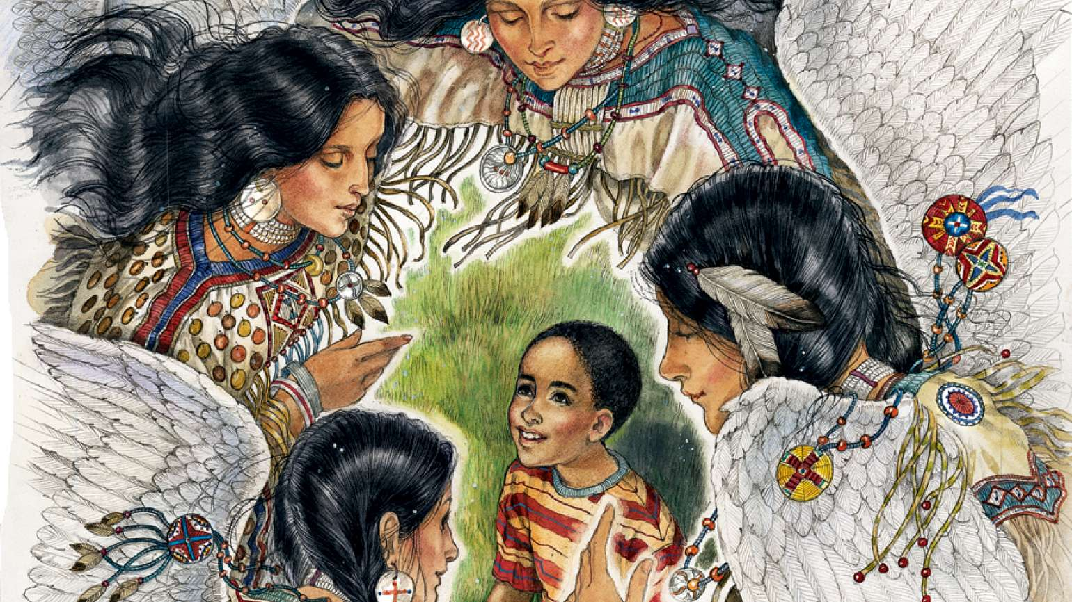 An artist's rendering of Native-American angels speaking to young Kenneth