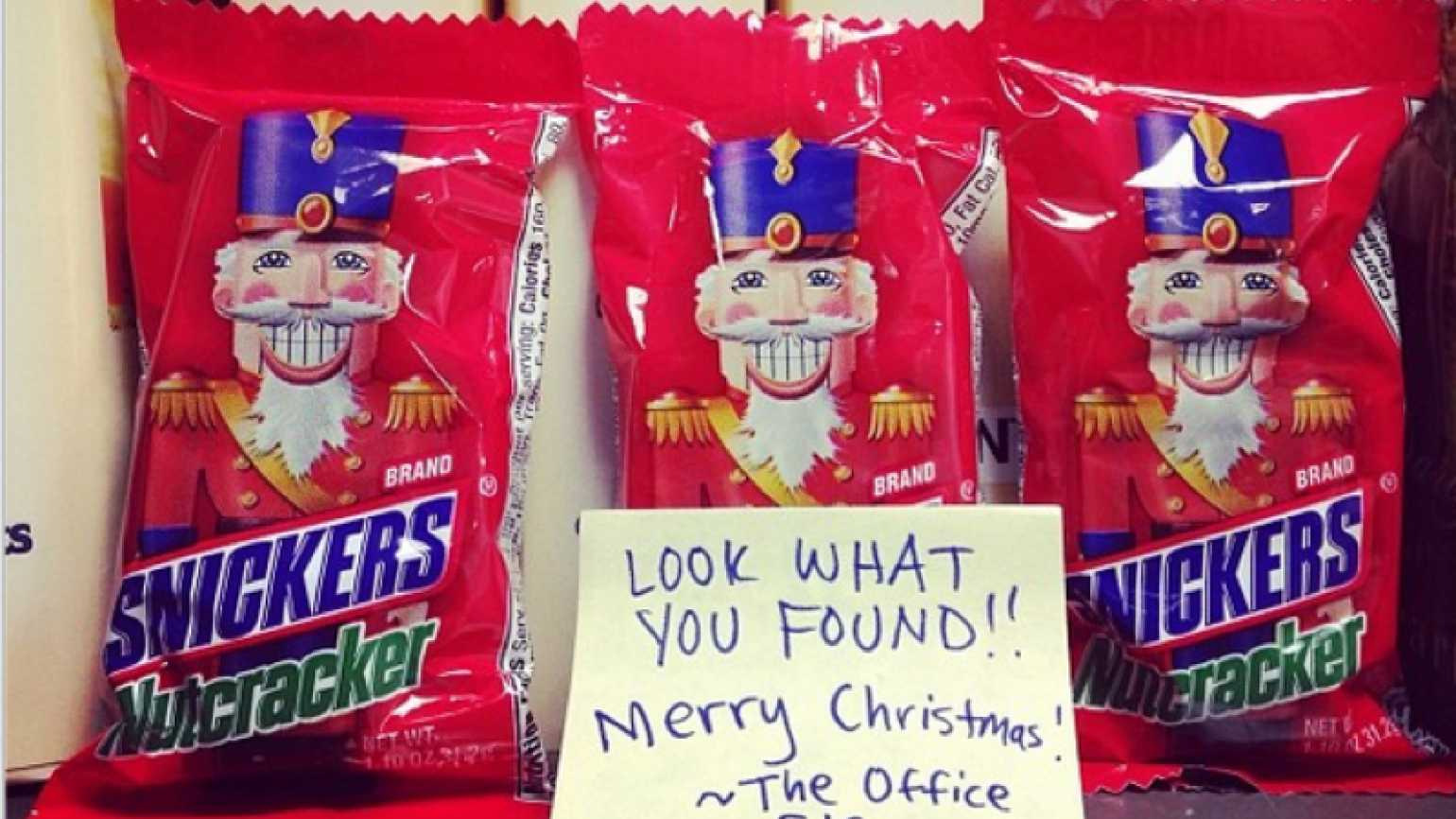 """The Mysterious Ways Christmas """"office elf"""" leaves treats for whoever finds them"""