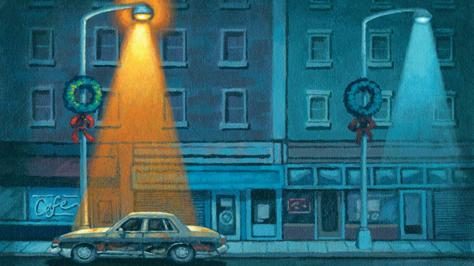 An artist's rendering of an old car lit by the golden glow of a streetlight