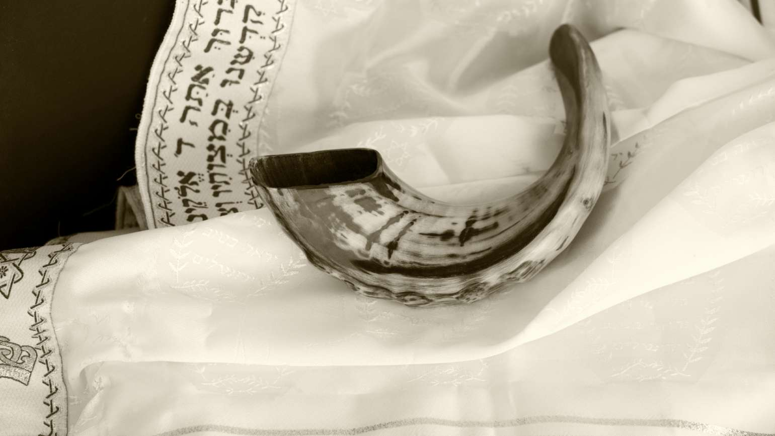 The Shofar (ram's horn) is blown during services on Yom Kippur.