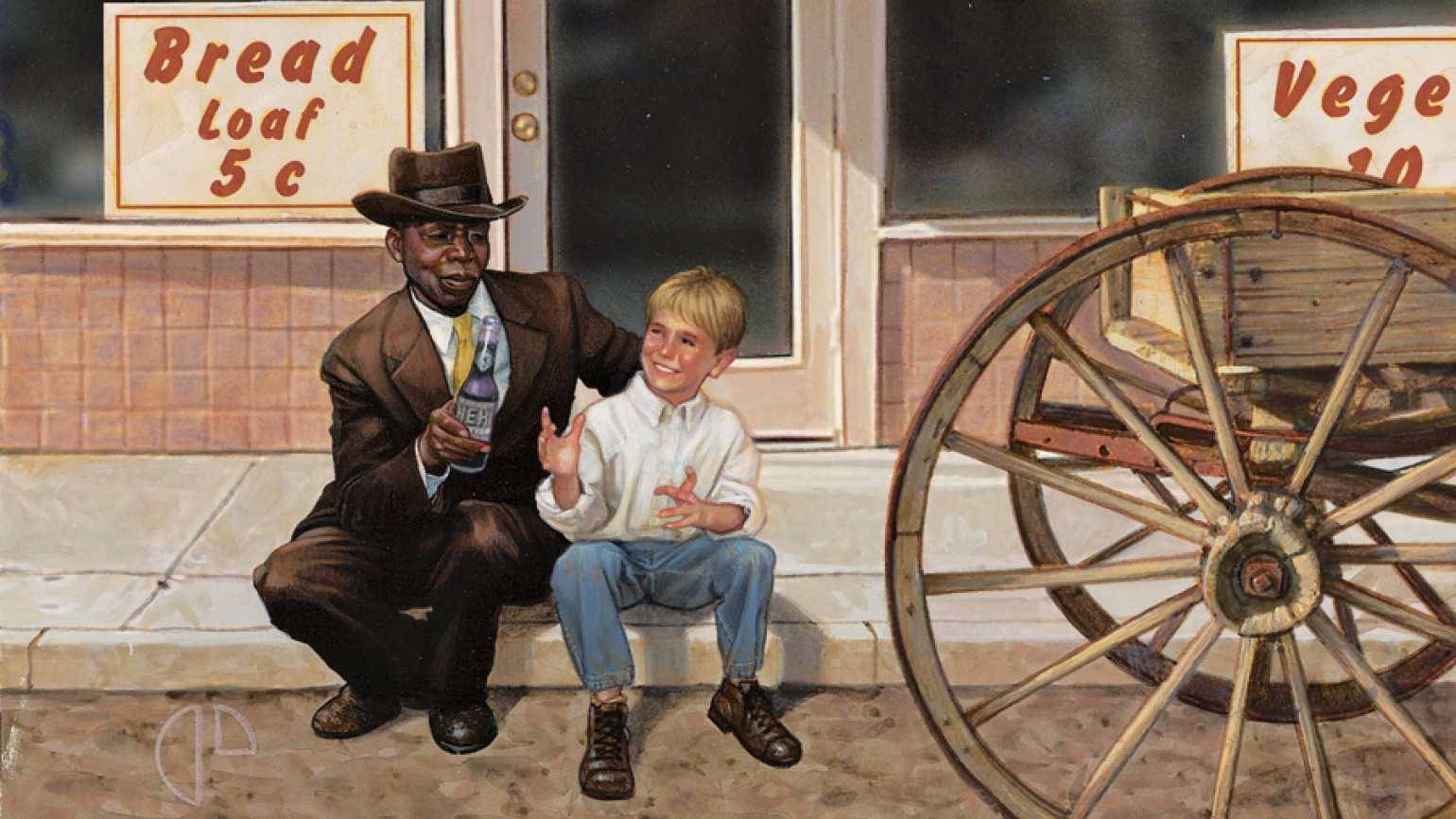 An artist's rendering of Walter P. Smith and King Brooks sitting on a curb