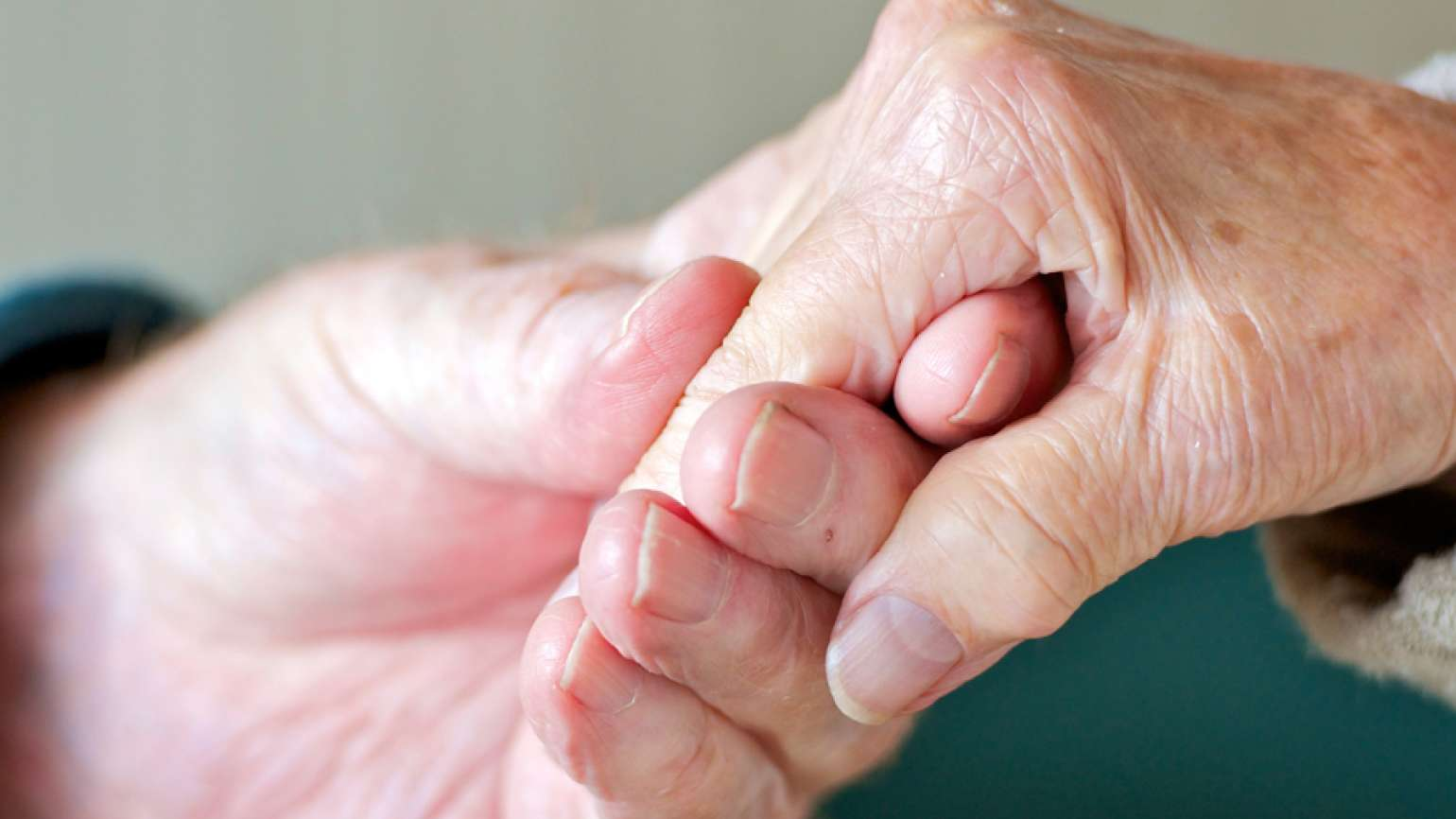 A closeup of two seniors holding hands