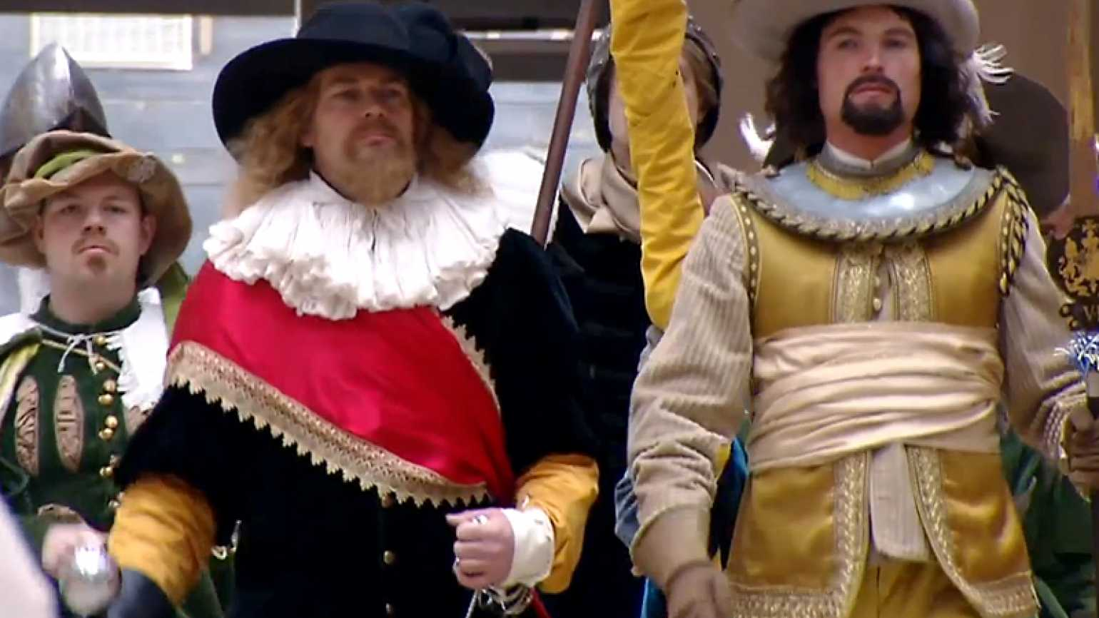 Dutch flash mob members in a period attire
