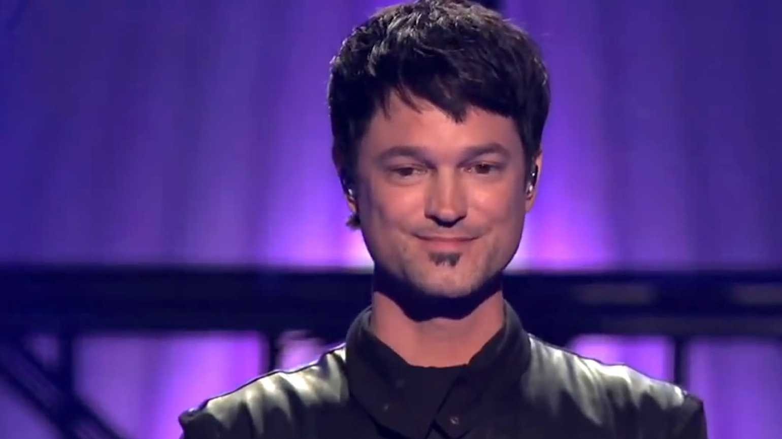 """Jeff Gutt appears onstage during """"The X-Factor USA."""""""