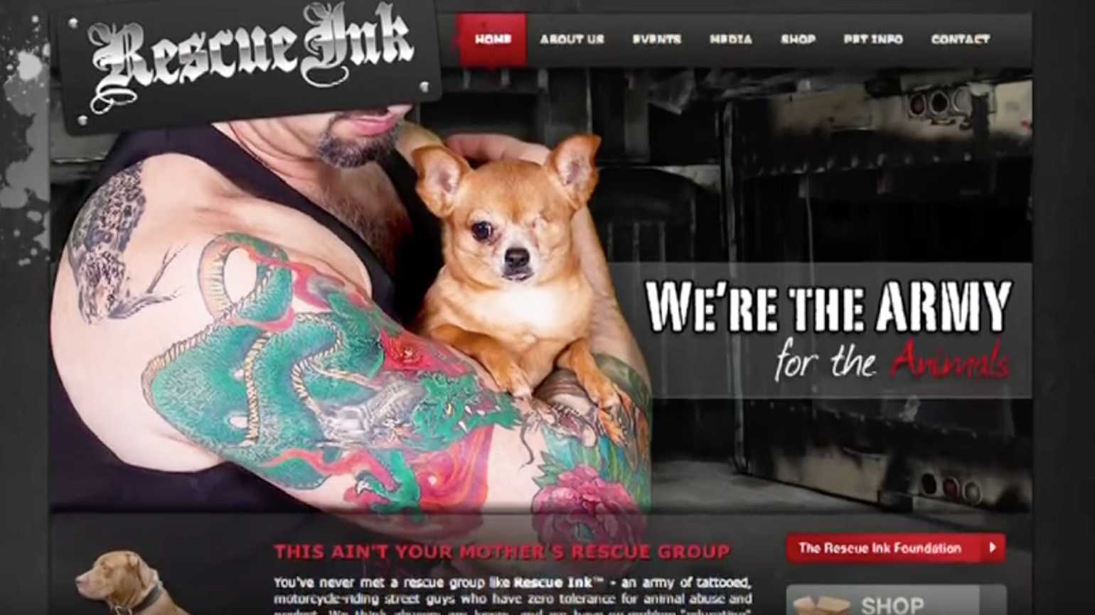 Rescue Ink's homepage on their website.