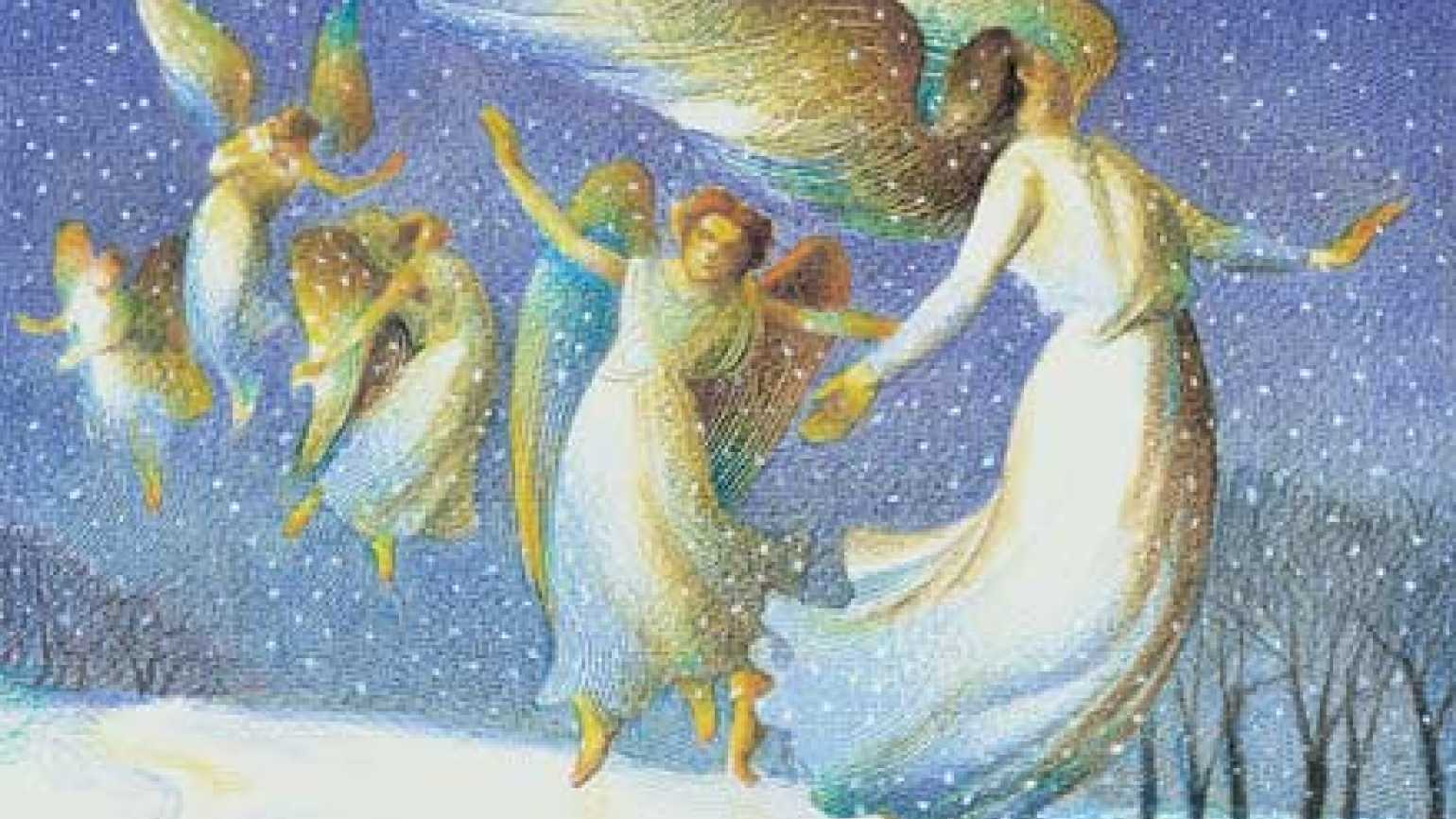 An artist's rendering of Milton's swirls of snow that looked like angels