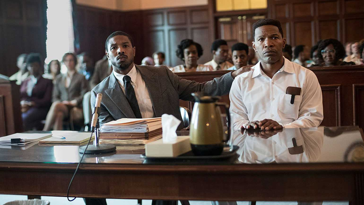 Michael B. Jordan and Jamie Foxx in a scene from 'Just Mercy'