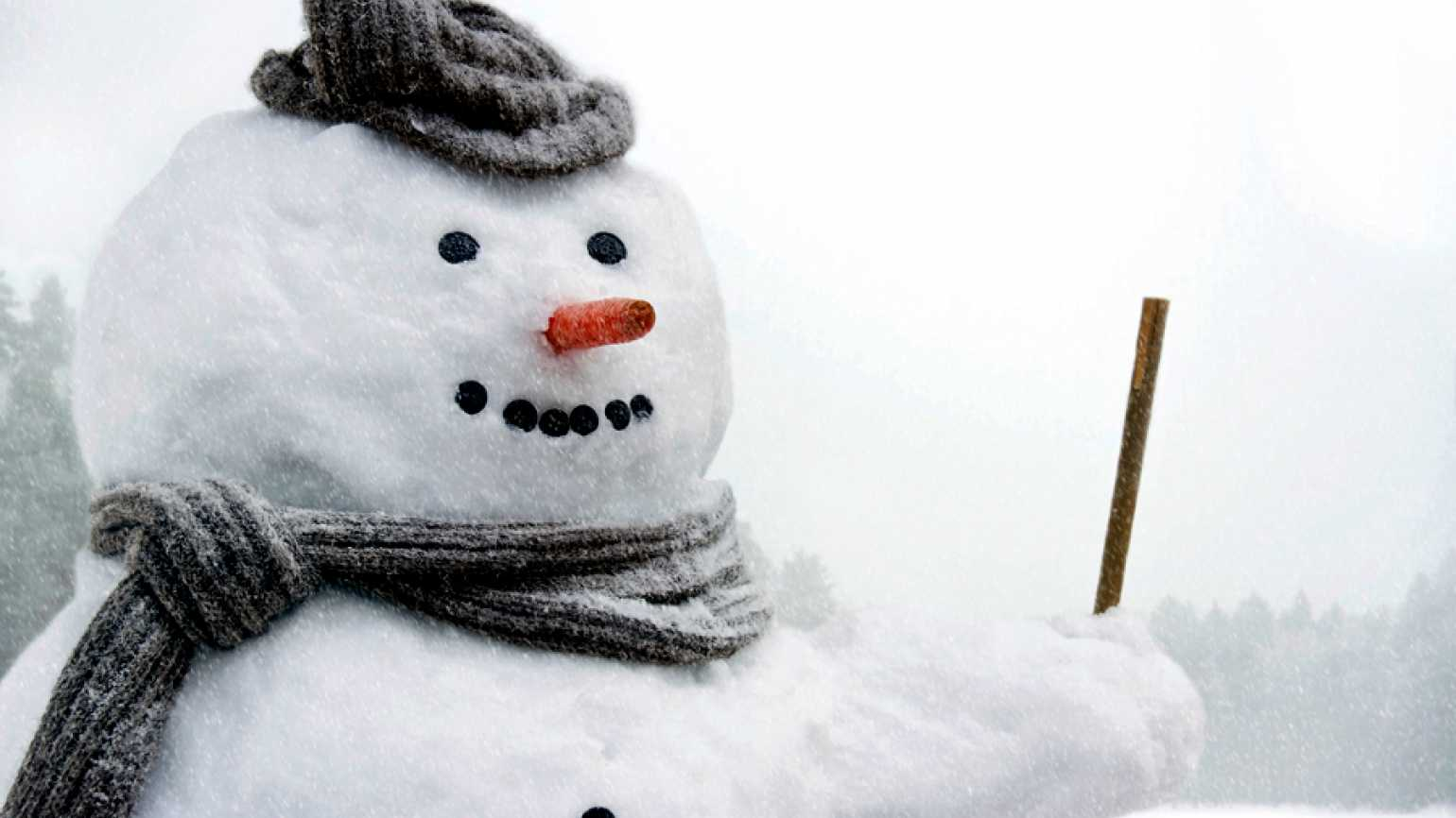 Guideposts: A jolly snowman with a woolen scarf and cap and a carrot for a nose
