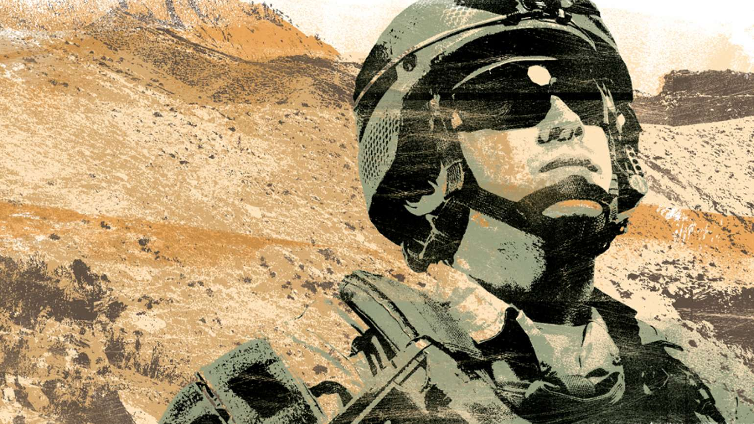 An artist's rendering of a soldier looking heavenward in the desert of Iraq