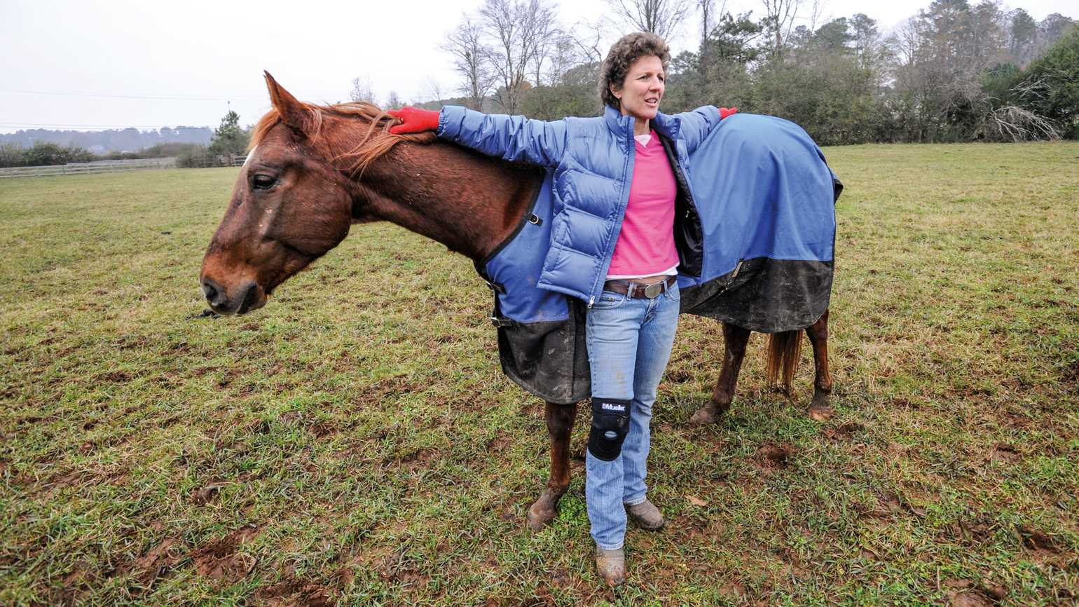 Michelle Akers and her horse