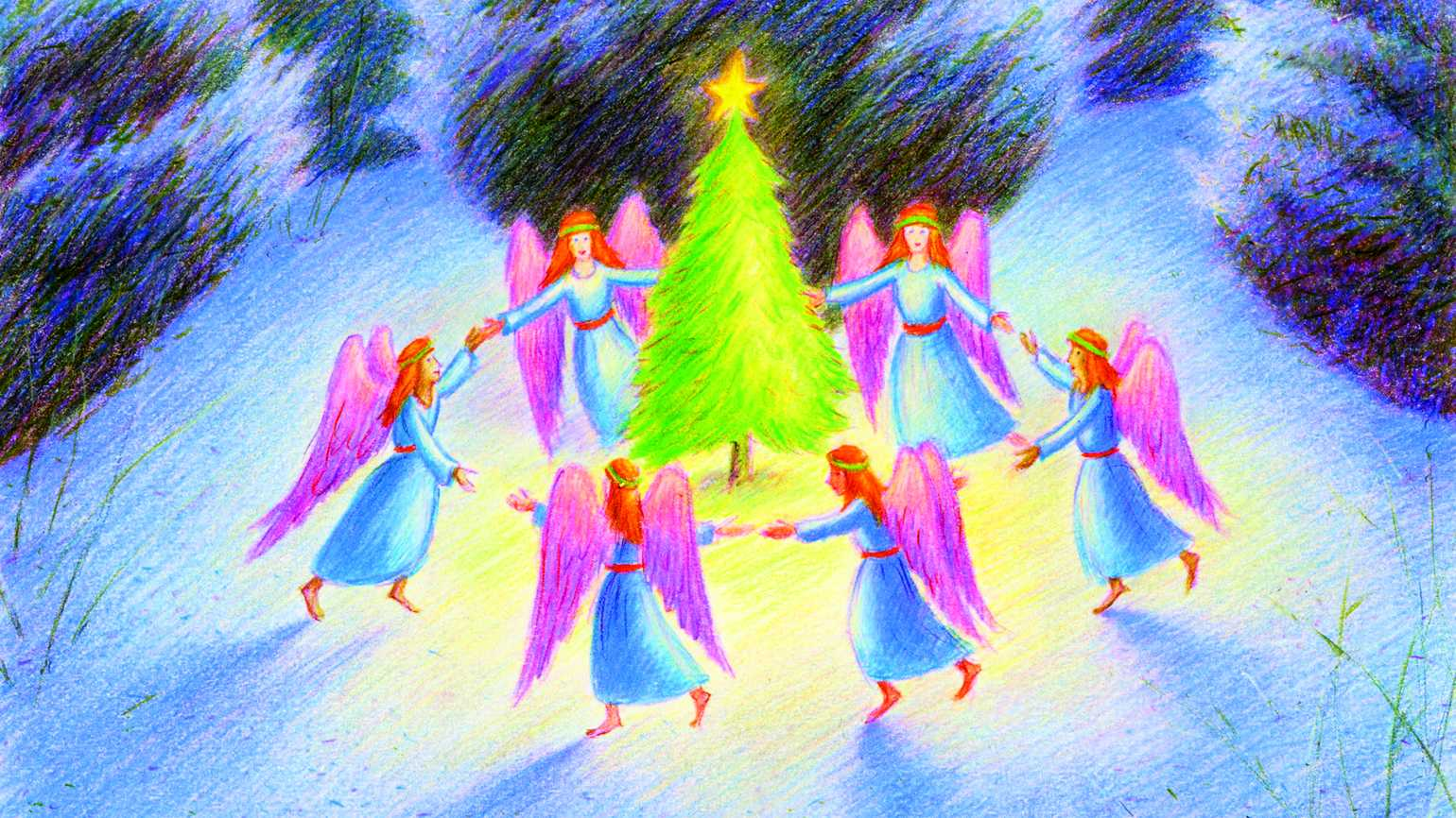 An artist's rendering of a ring of angels dancing around a Christmas tree