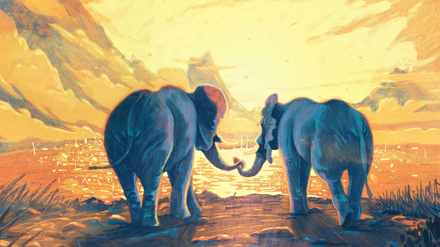 An artist's rendering of a pair of grieving elephants