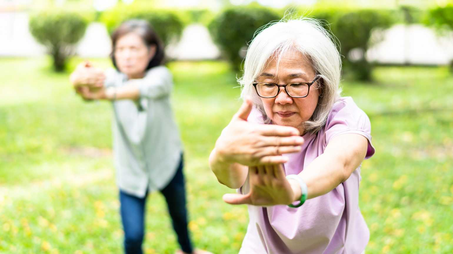 Two women practicing tai chi outdoors.