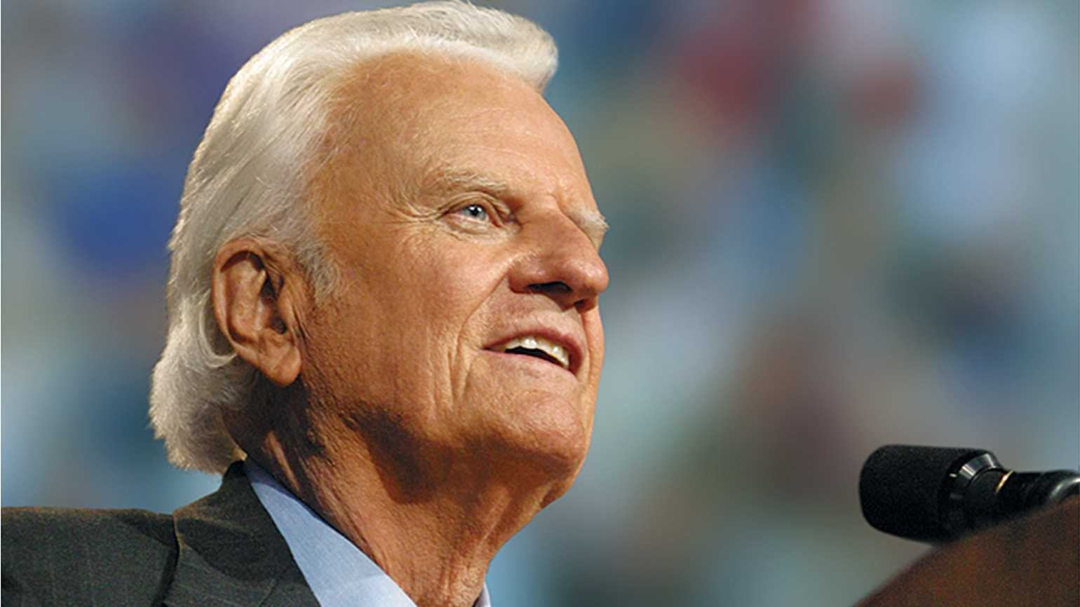 Billy Graham speaking to an audience