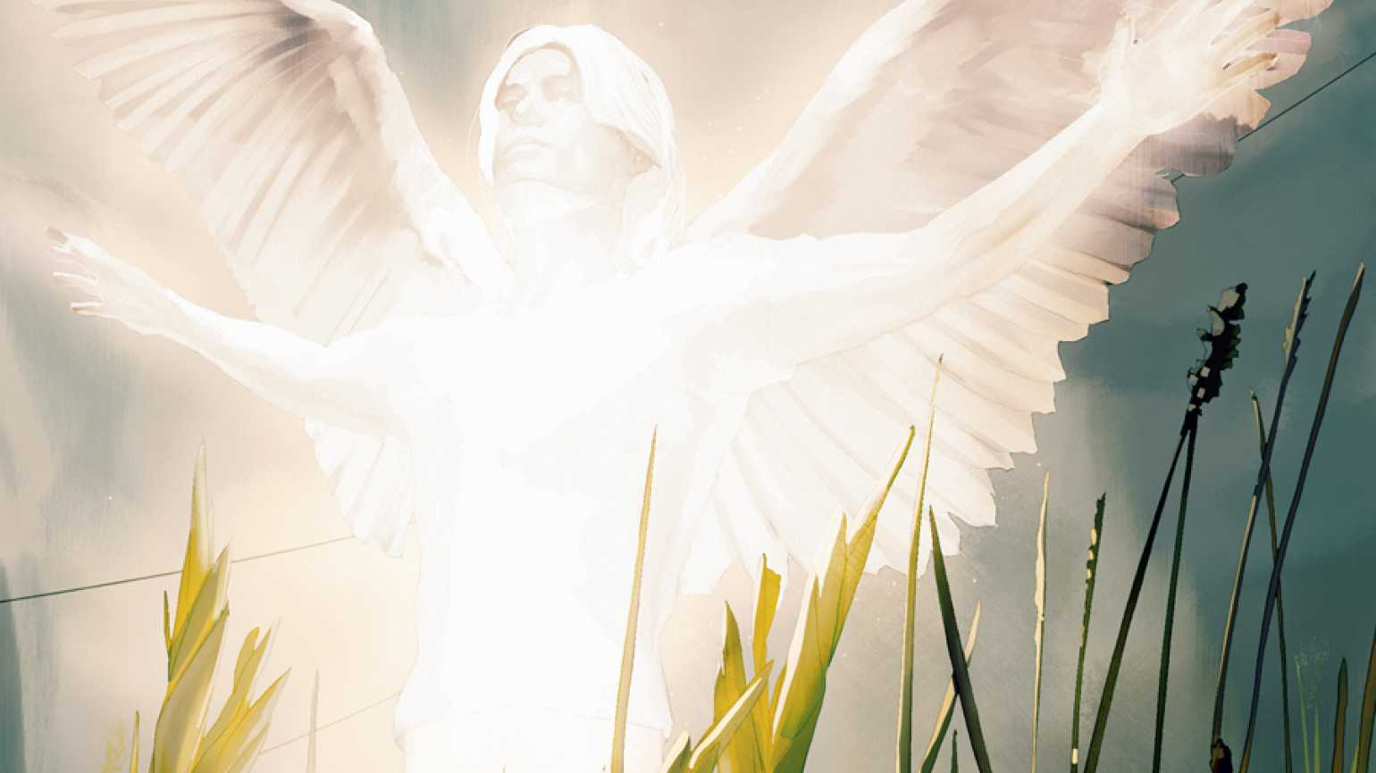 An artist's rendering of a glowing angel hovering over a rural highway