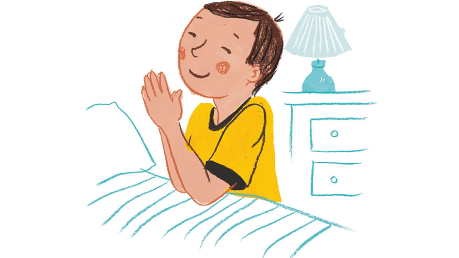 An artist's rendering of a small boy kneeling in prayer at his bedside