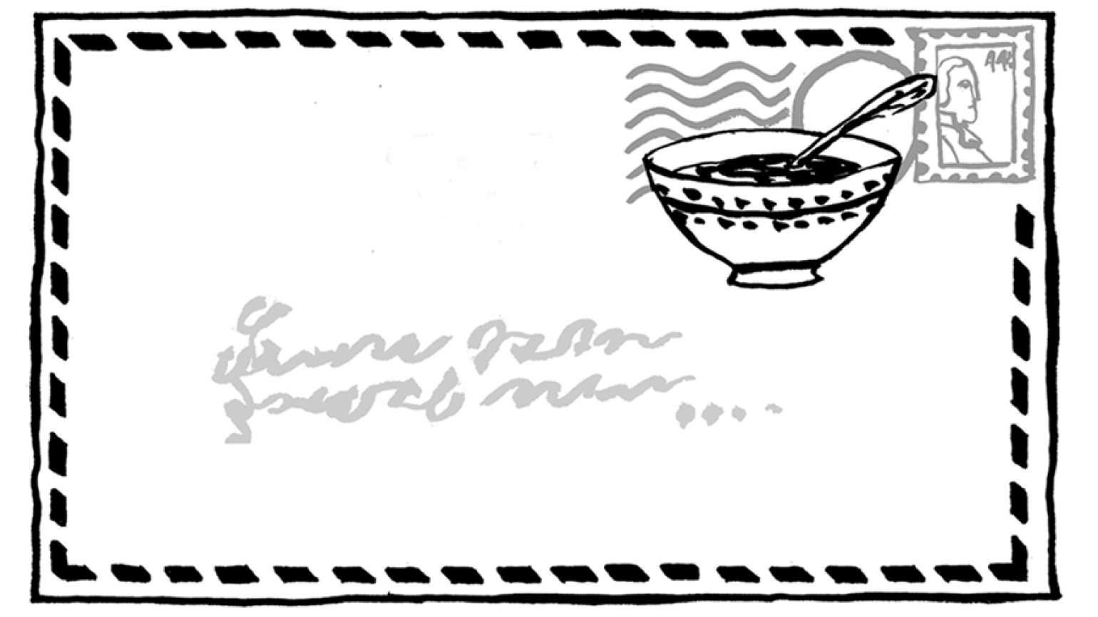 Guideposts: An artist's rendering of a letter with a bowl of soup as a postmark