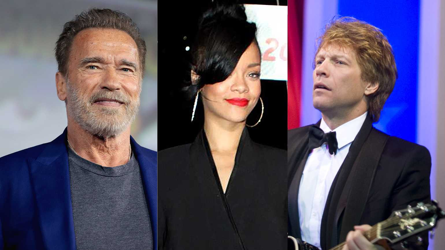 Arnold Schwarzenegger (from left), Rihanna and Jon Bon Jovi
