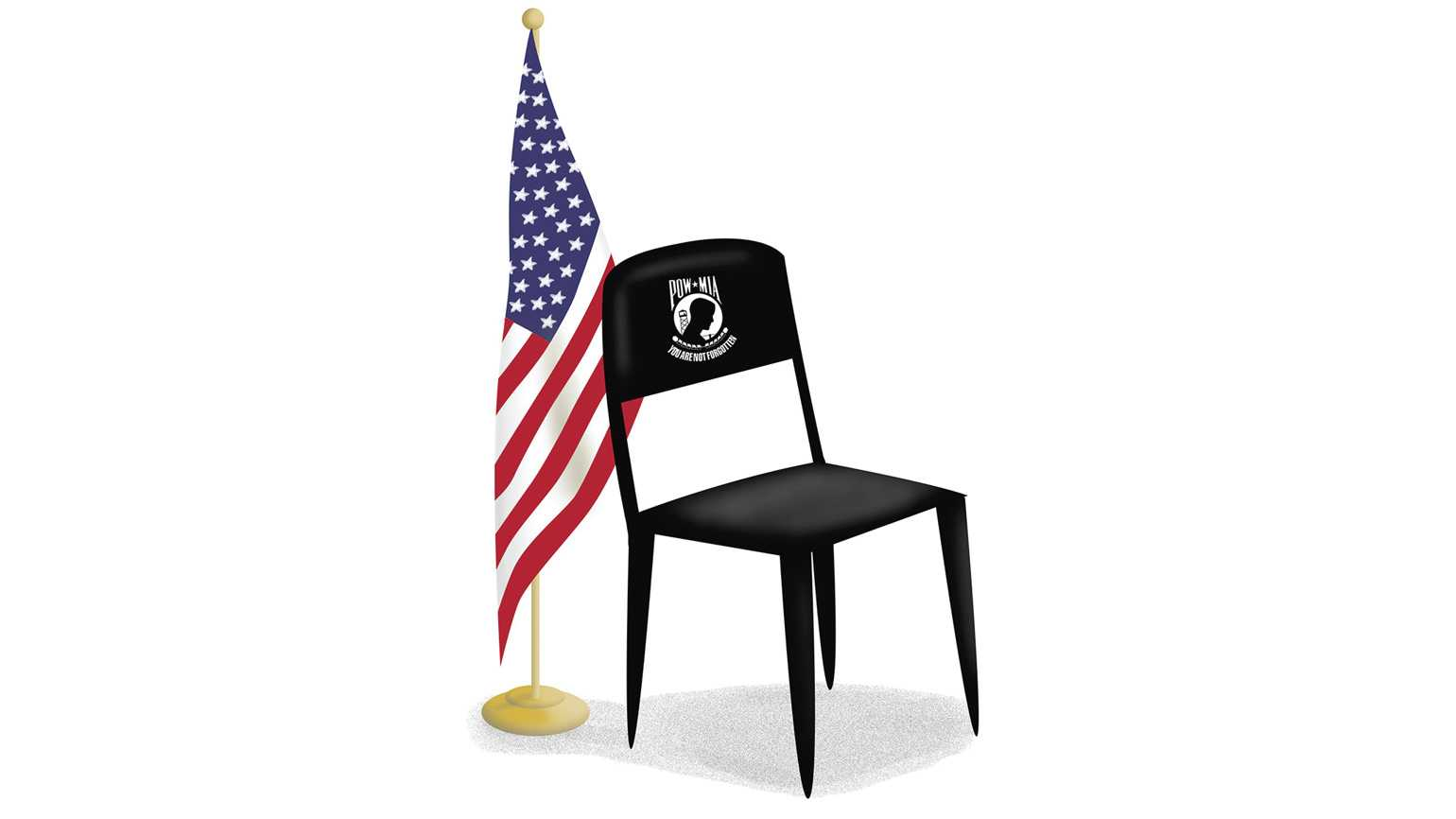 A black POW/MIA Chair of Honor in front of a large American flag.