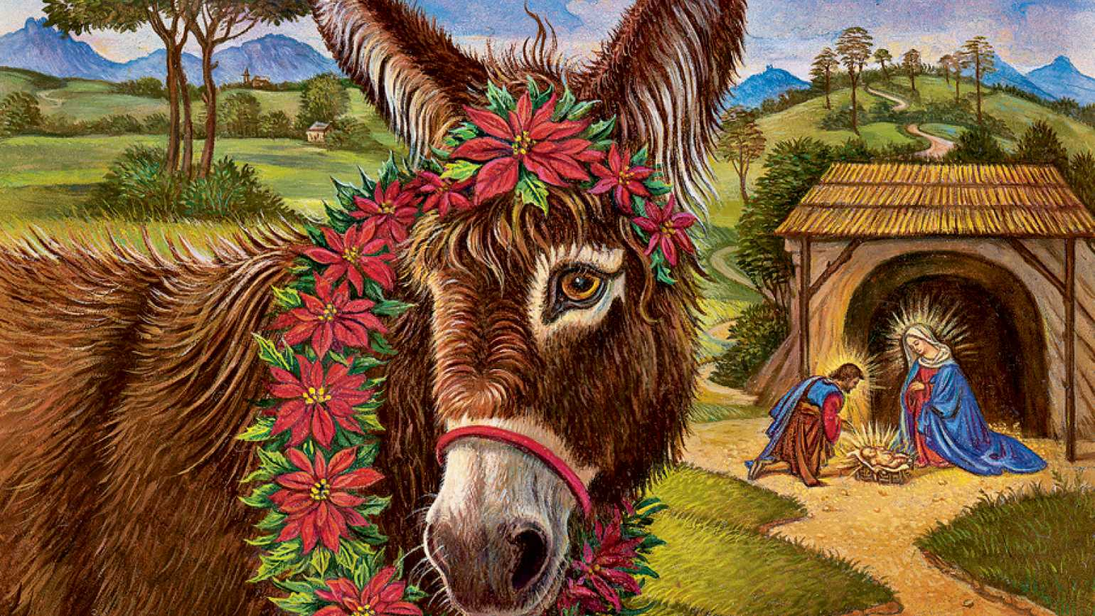Guideposts: An artist's rendering of a donkey at the manger