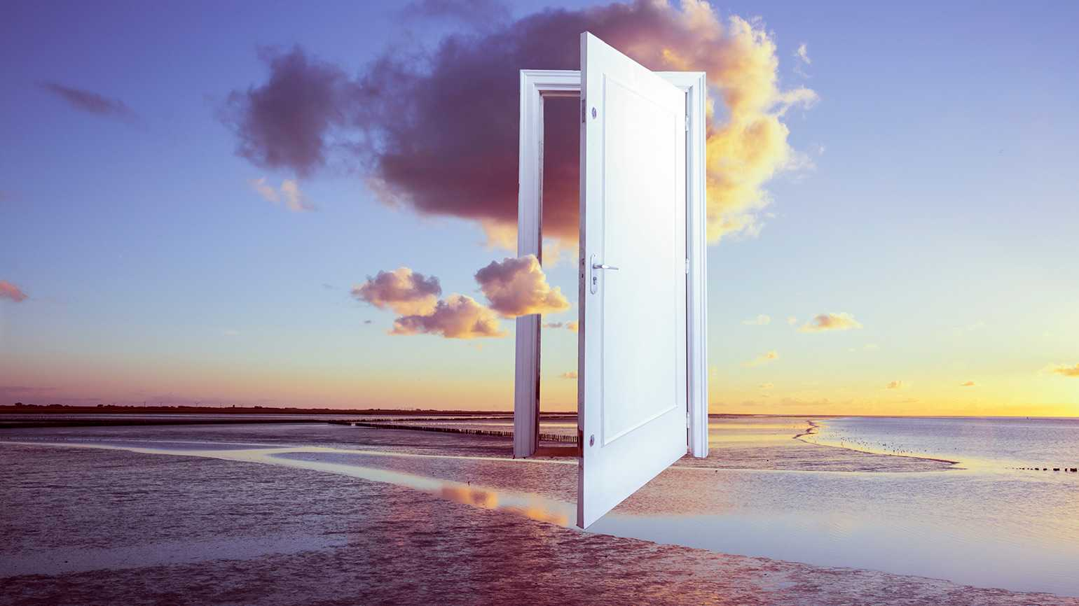 Dream imagery depicting a floating door that is wide open