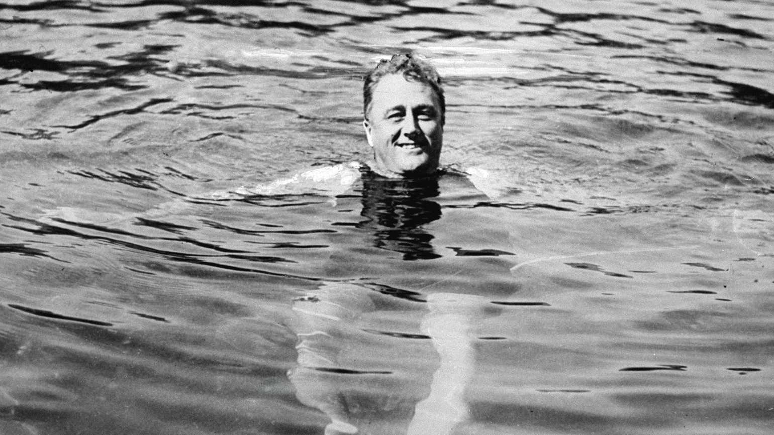President Franklin D. Roosevelt in the healing waters of Warm Springs, Georgia.