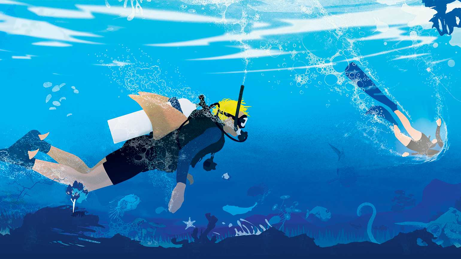 An artist's rendering of a pair of scuba divers underwater