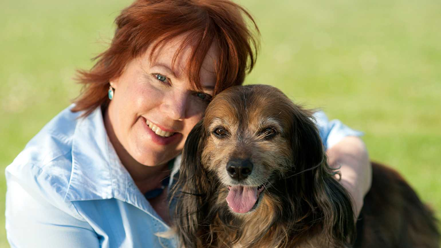 Peggy Frezon with a canine pal