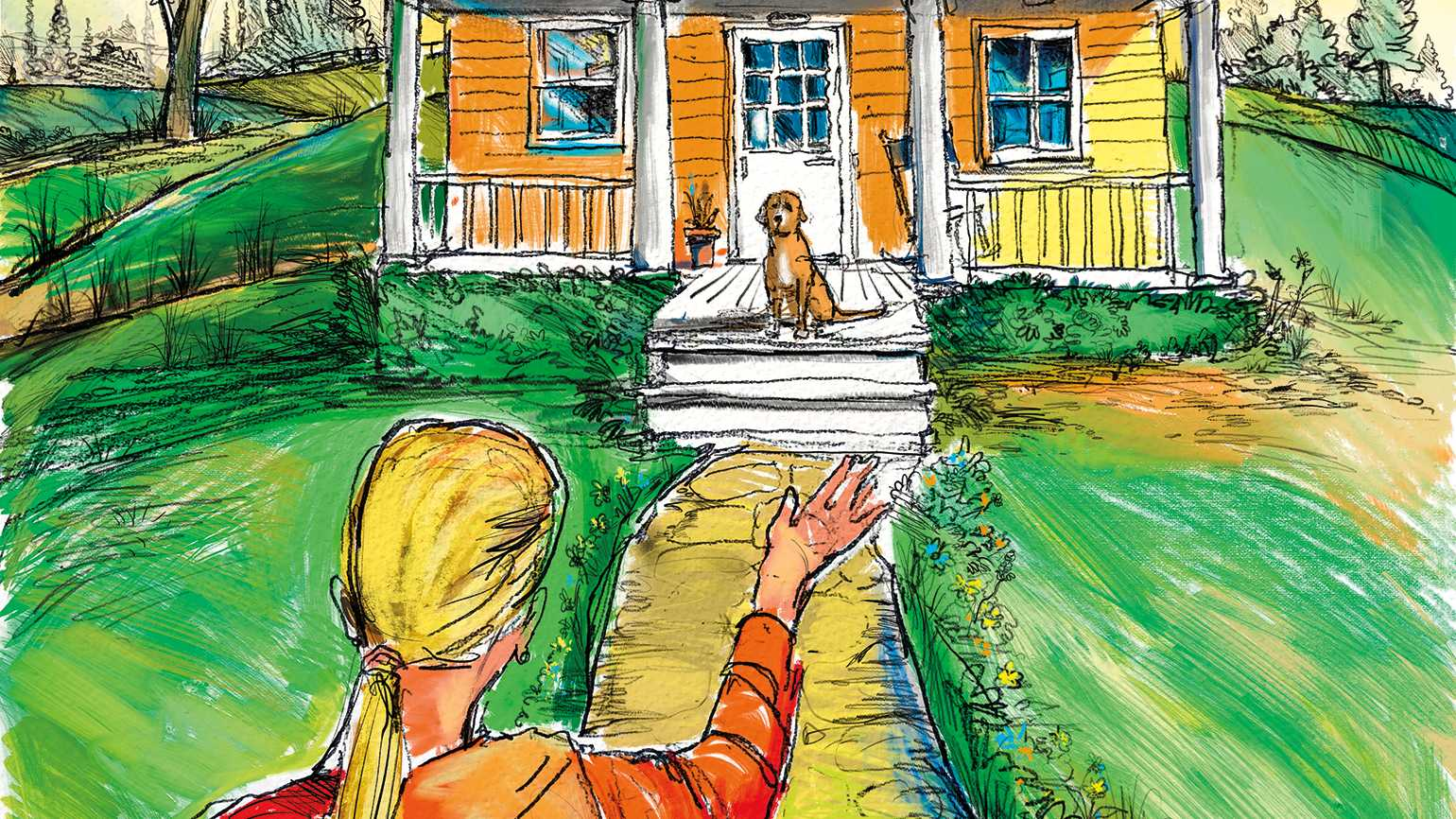 An artist's rendering of a woman waving to a dog who awaits her arrival on the front porch