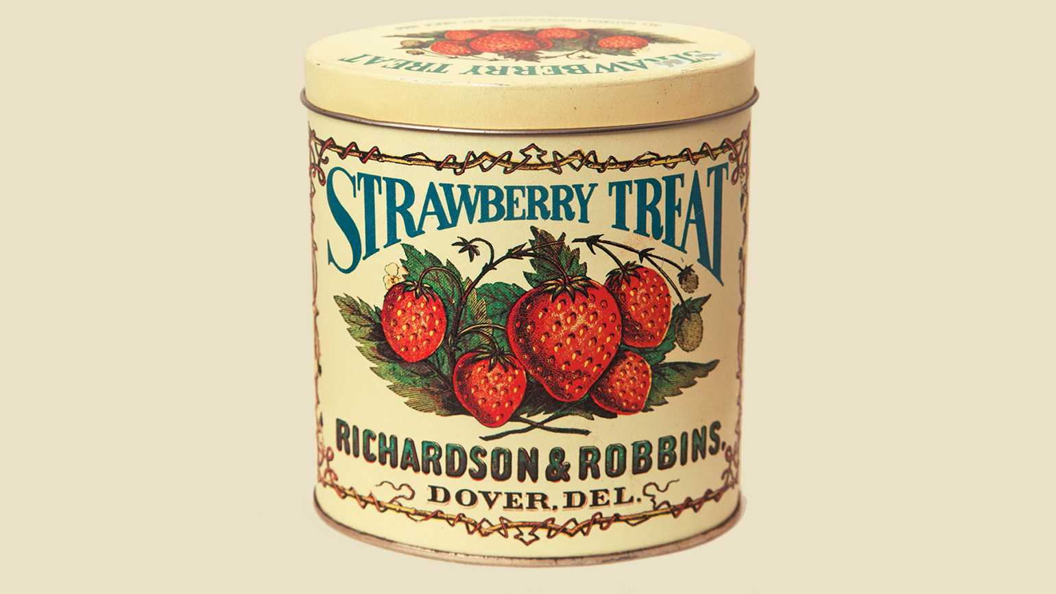 Robin Hill-Page Glanden's vintage strawberry candy tin