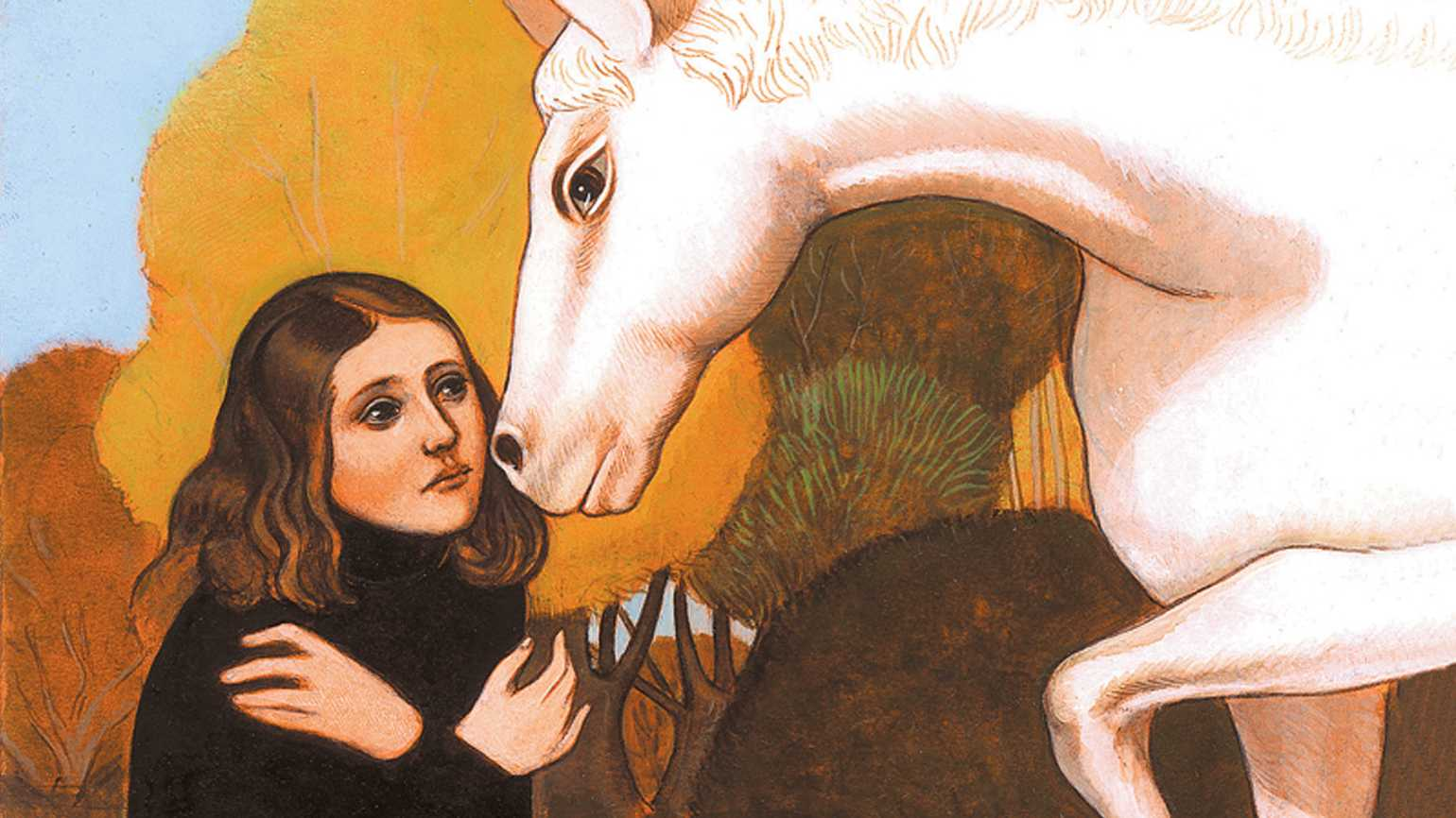 An artist's rendering of a young woman being nuzzled by a white horse