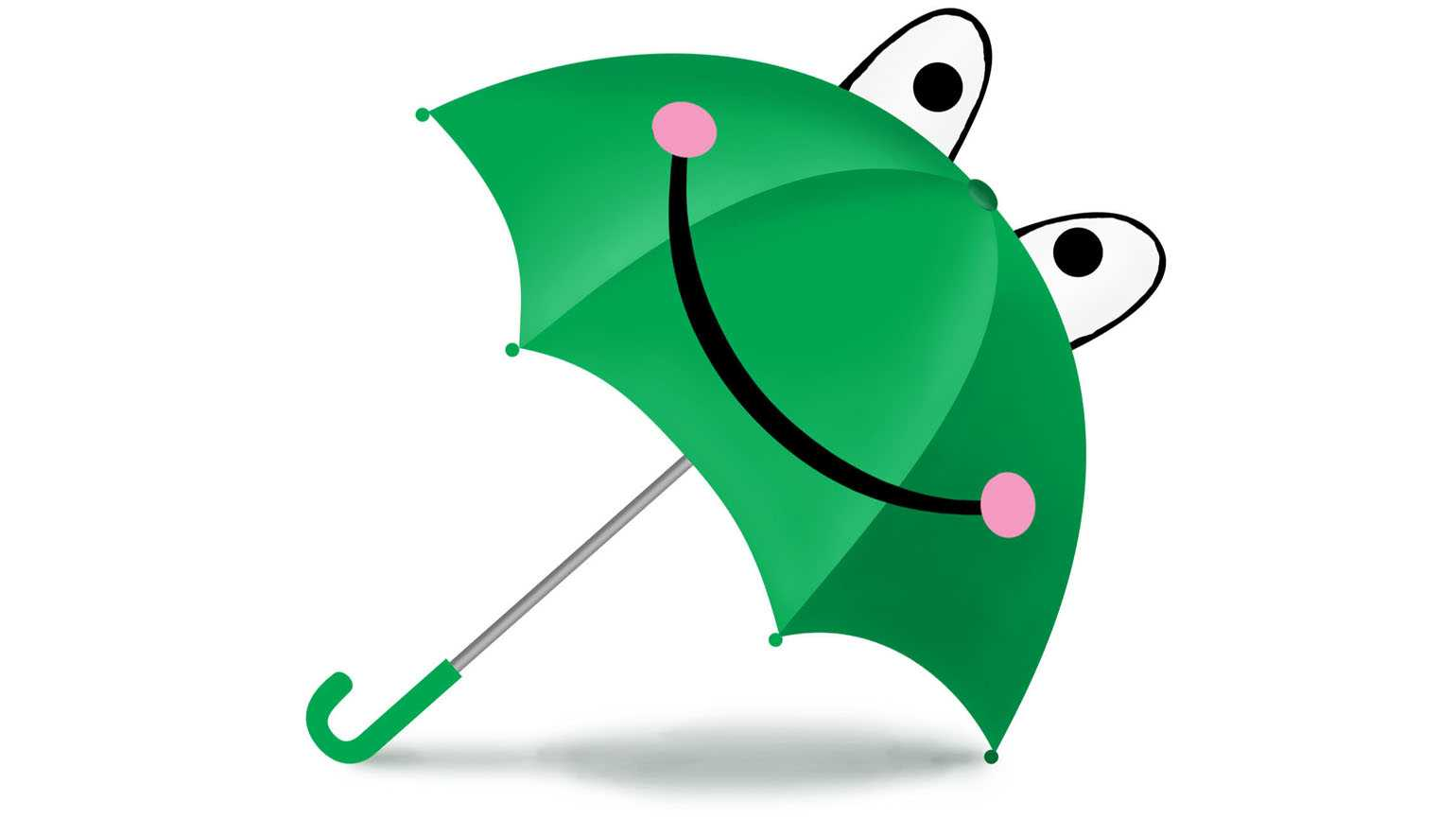 A green umbrella showing a happy frog.