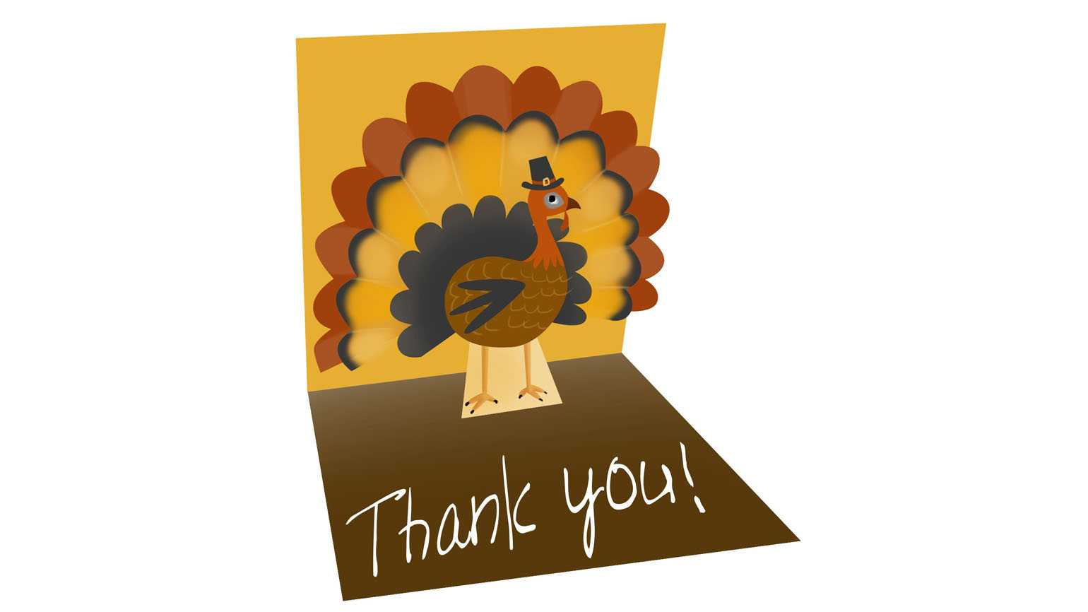 An artist's rendering of a 'Thank You' not with a pop up Thanksgiving turkey inside.
