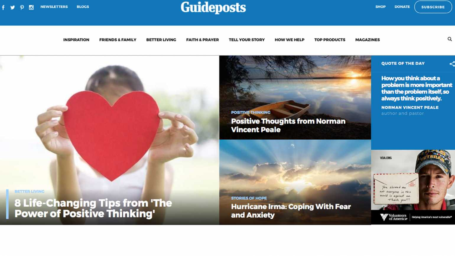 A screenshot of the Guideposts homepage.