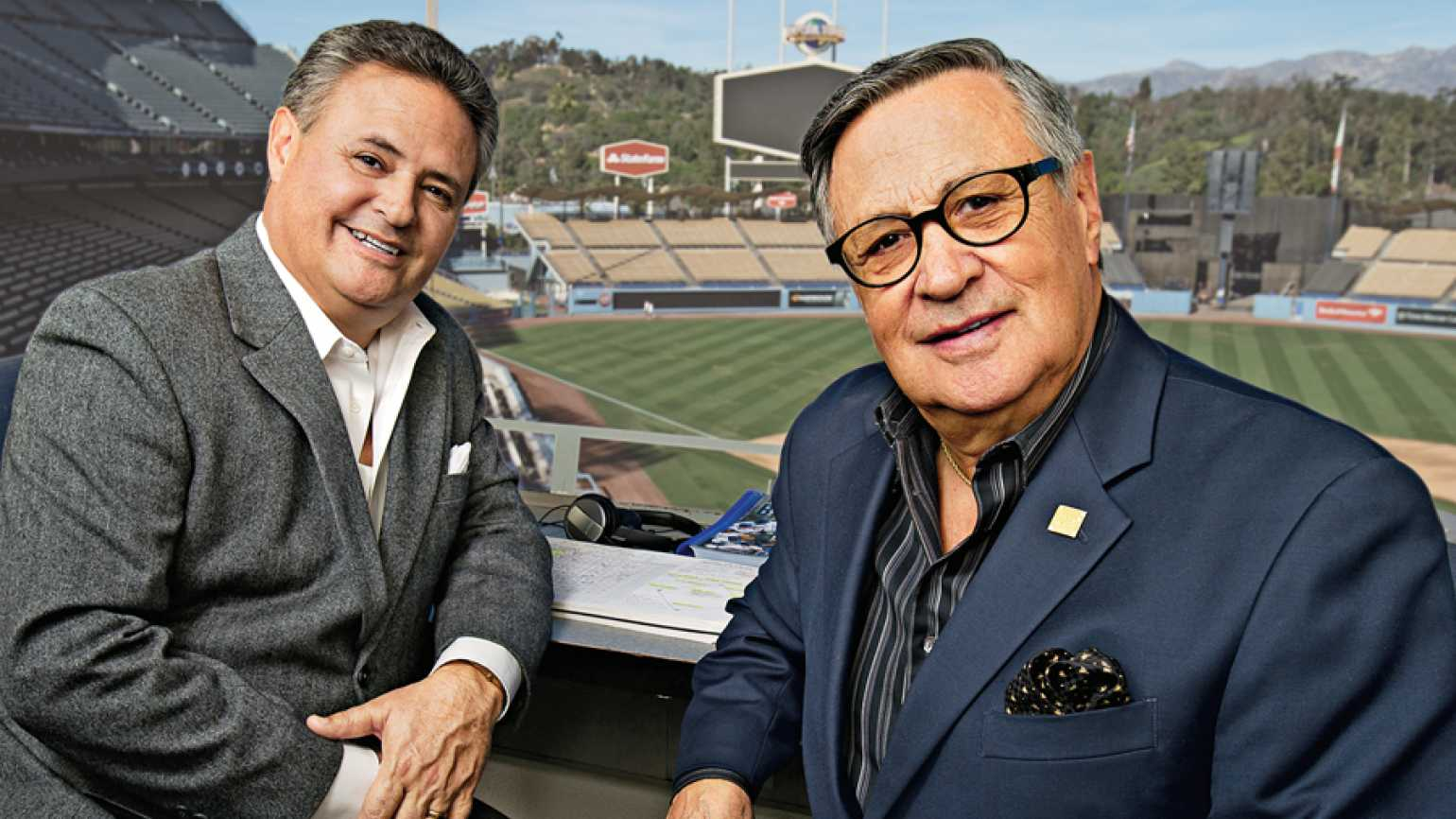 Jorge and Jaime Jarrin, father-and-son Spanish-language broadcasters for the Dodgers