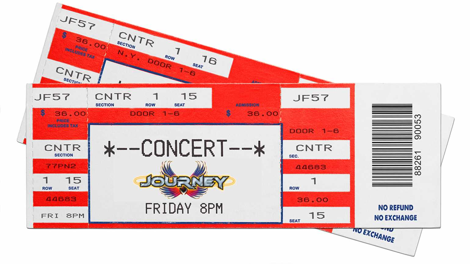 A pair of tickets to a Journey concert