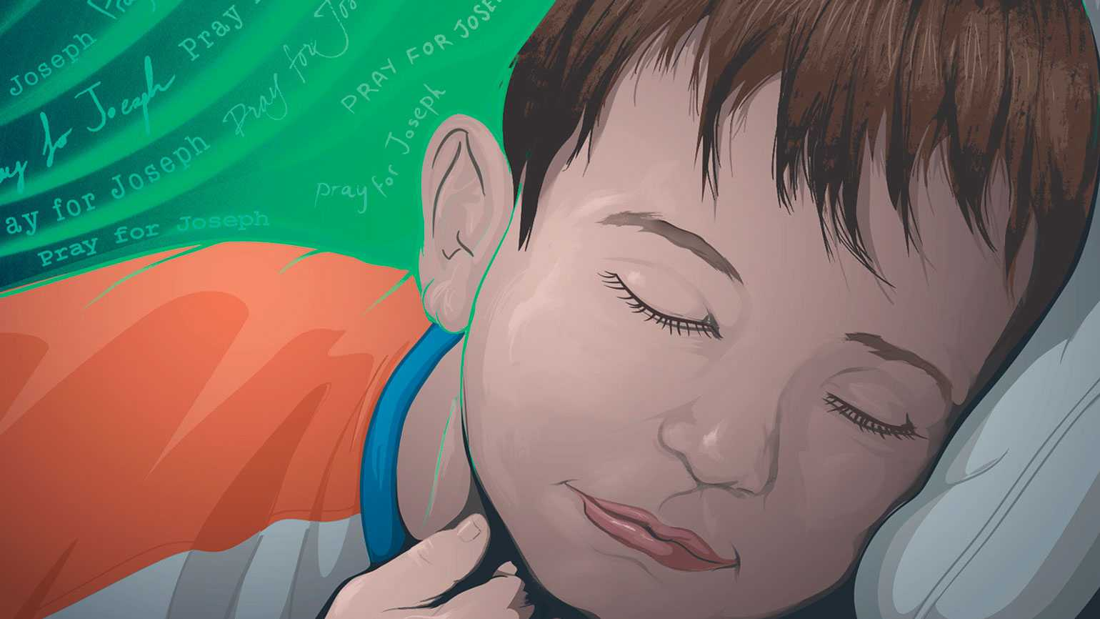 An artist's rendering of a young boy in hospital surrounded by a green glow