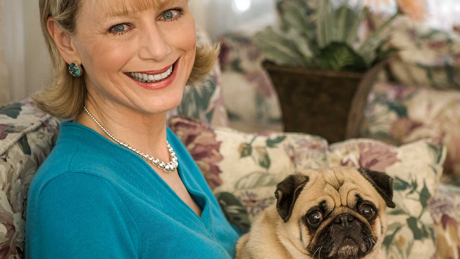 Kathryn and her pug, Max.