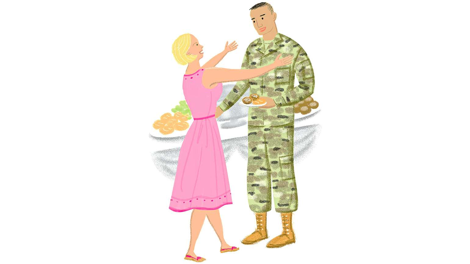 An artist's rendering of a grandmother hugging a soldier