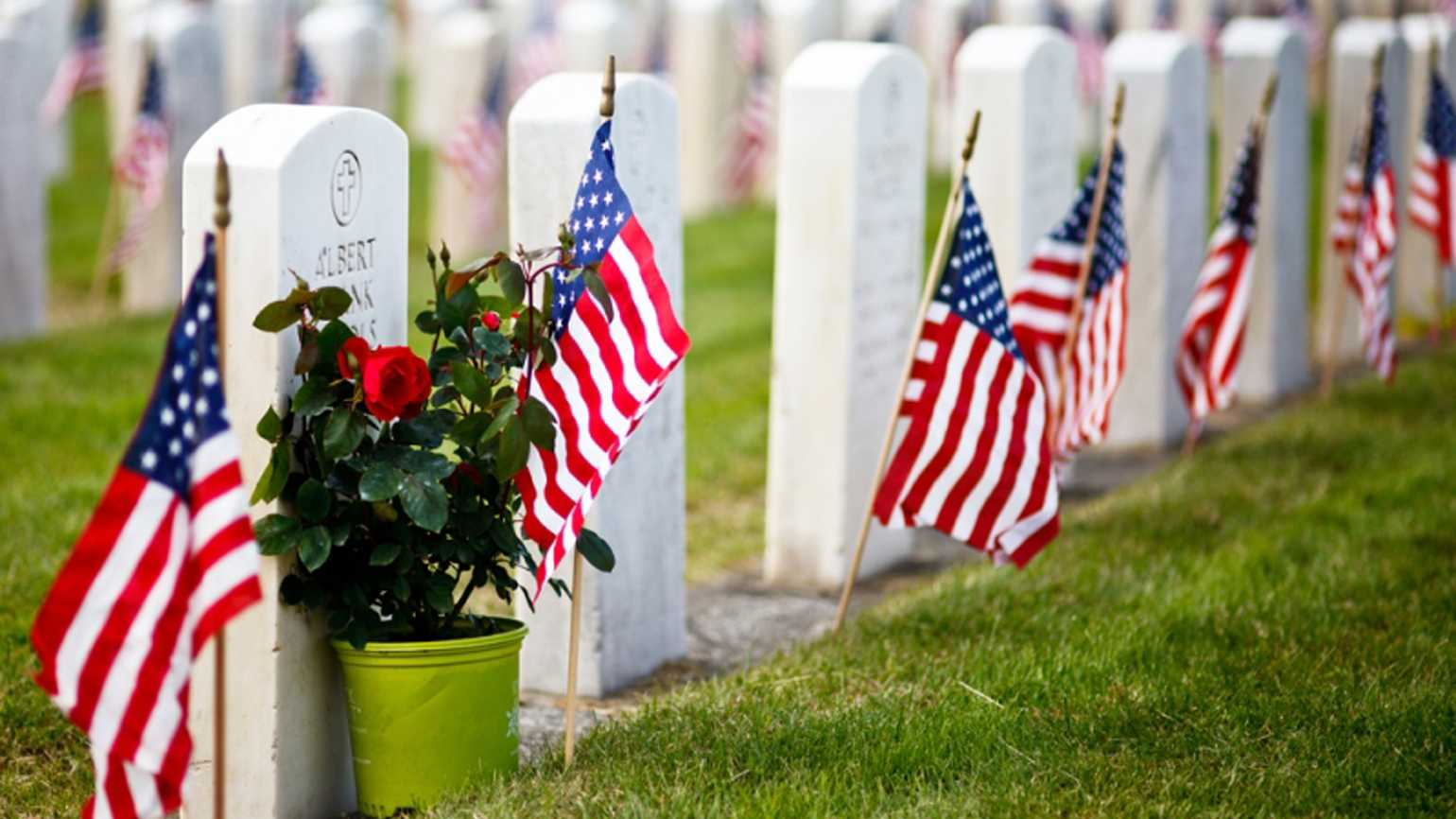 US Military Cemetery flying American flags for Memorial Day