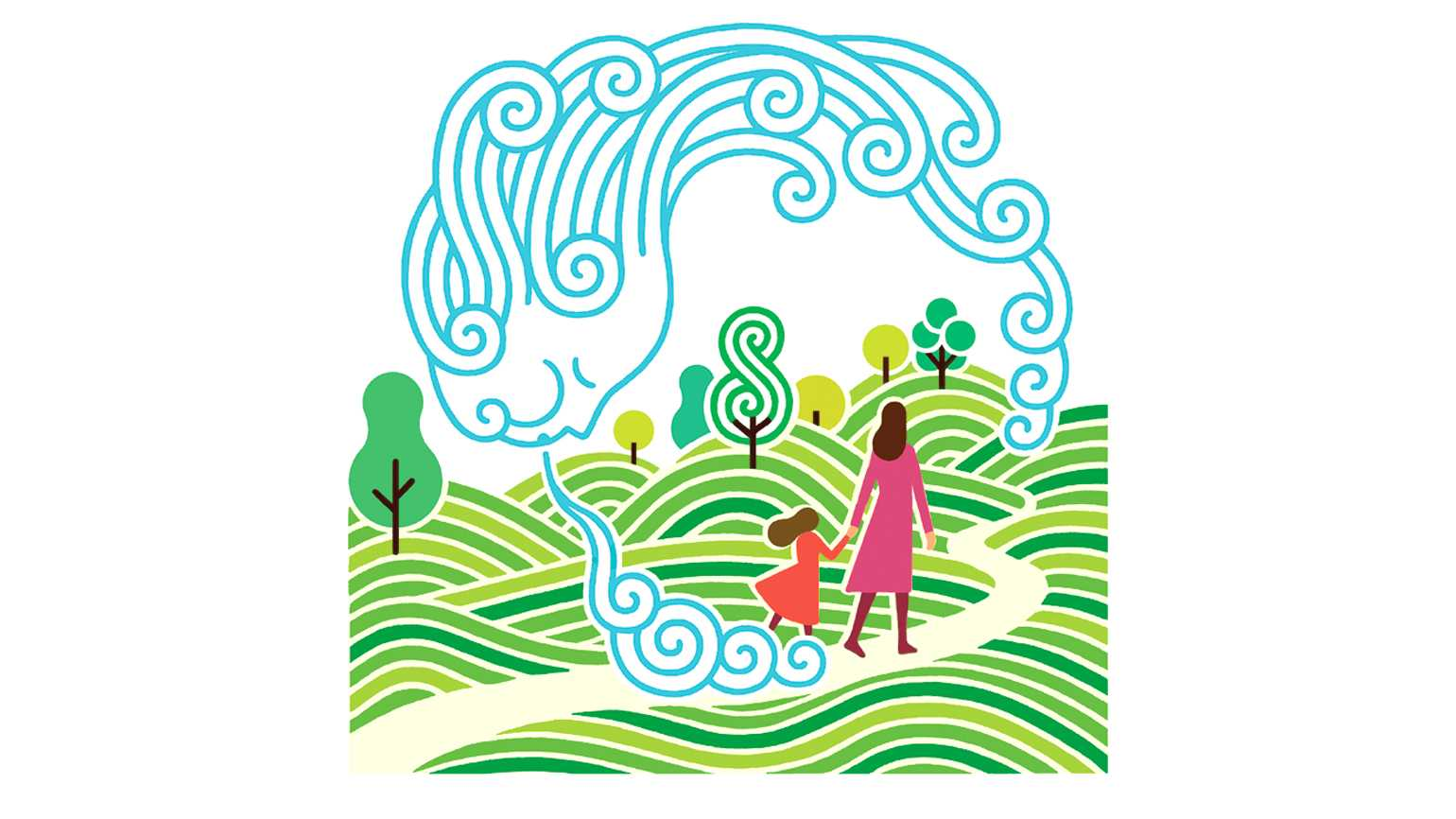 An illustration of a mother and daughter walking through a park with a personified head of the wind blowing.